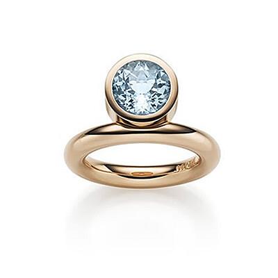 Ring, Aquamarin und Rotgold