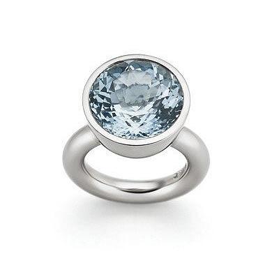Ring, Aquamarin und Weißgold