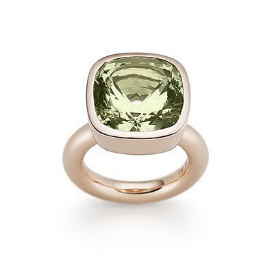 Ring, Green Beryll and Red Gold