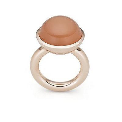 Ring, Oranger Mondstein und Rotgold